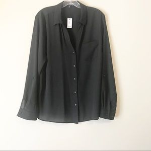 Black button up blouse with adjustable sleeves NWT